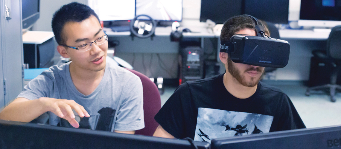 students in computer lab with vr headset