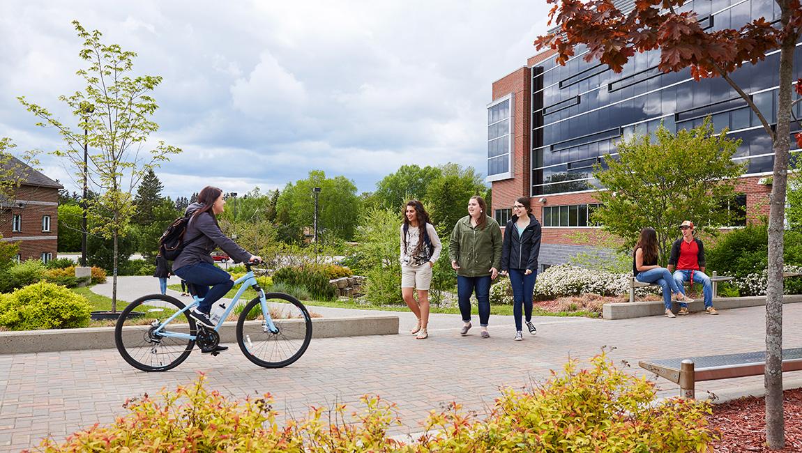 students walking through campus