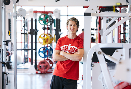 student in gym