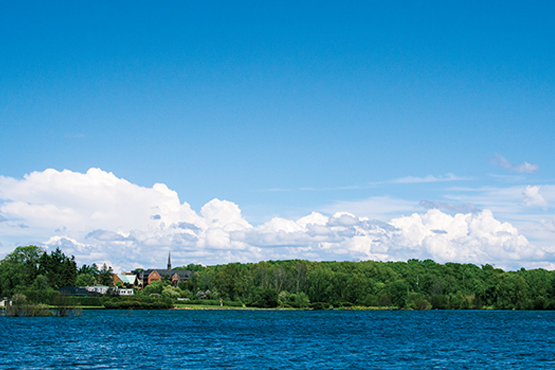 campus from a distance across lake