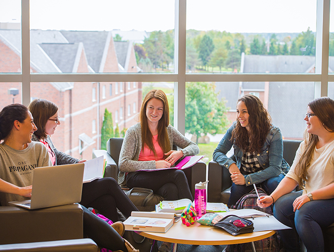 students talking in group
