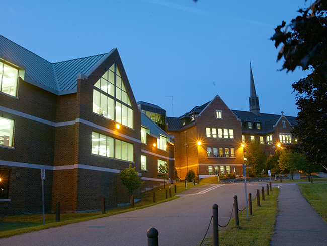 university buildings at night