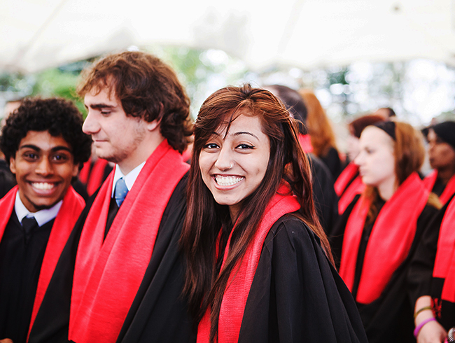 student at ceremony