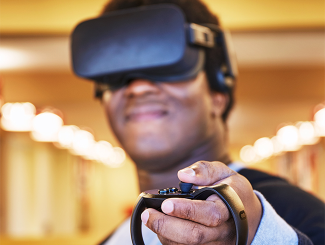 student wearing vr headset
