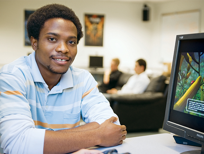 student in computer lab