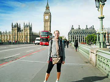 student on westminster bridge, london