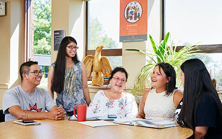 Anishinaabe students hanging out in student lounge