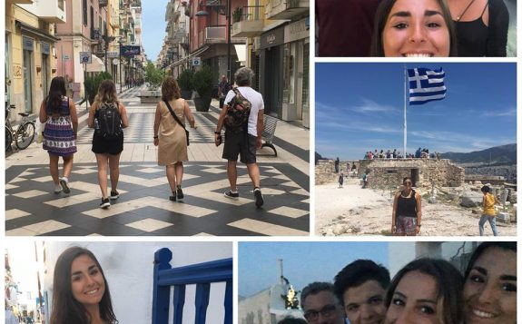 composite of student with friends travelling in europe