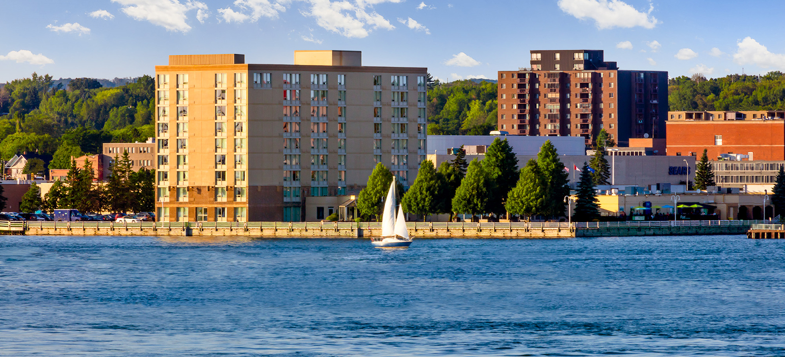 waterfront view of sault ste. marie downtown