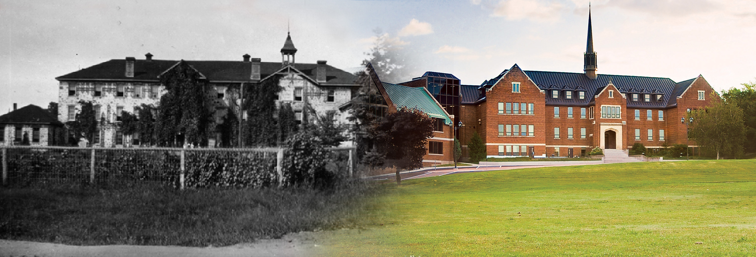 picture of old Shingwauk building compared to new building