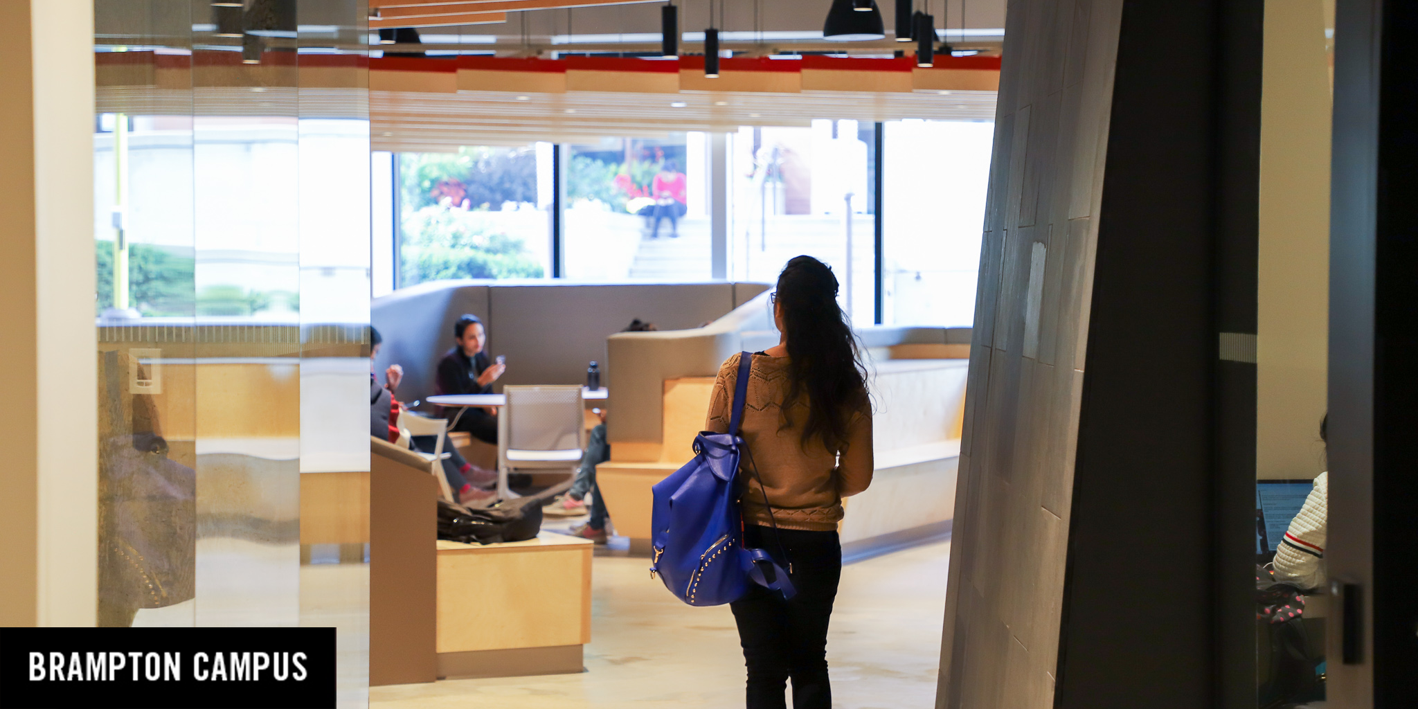 student walking in new space