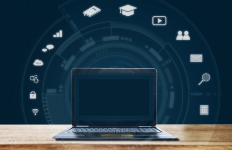 image of laptop surrounded by online learning tools icons