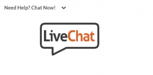 "Bubble that says ""live chat"" to show where to chat on Brightspace"