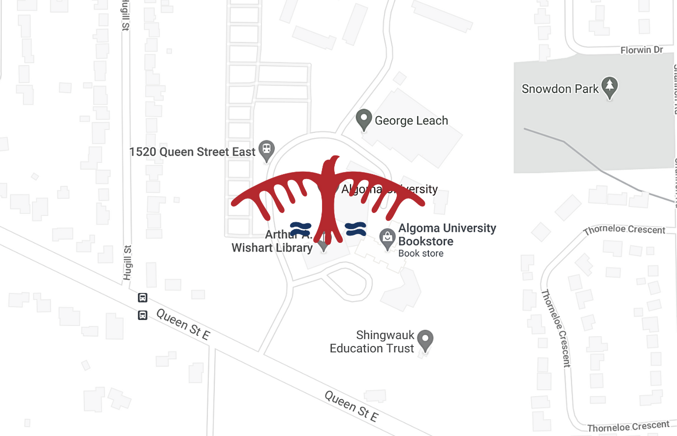 image of thunderbird logo over campus map location