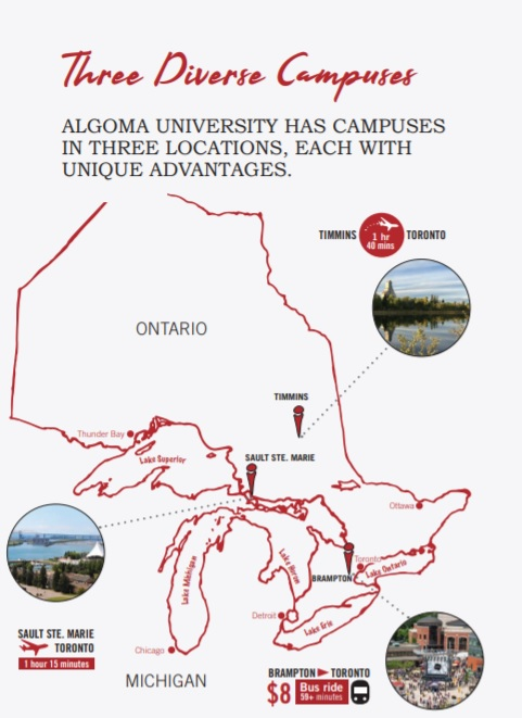 images of campuses on map