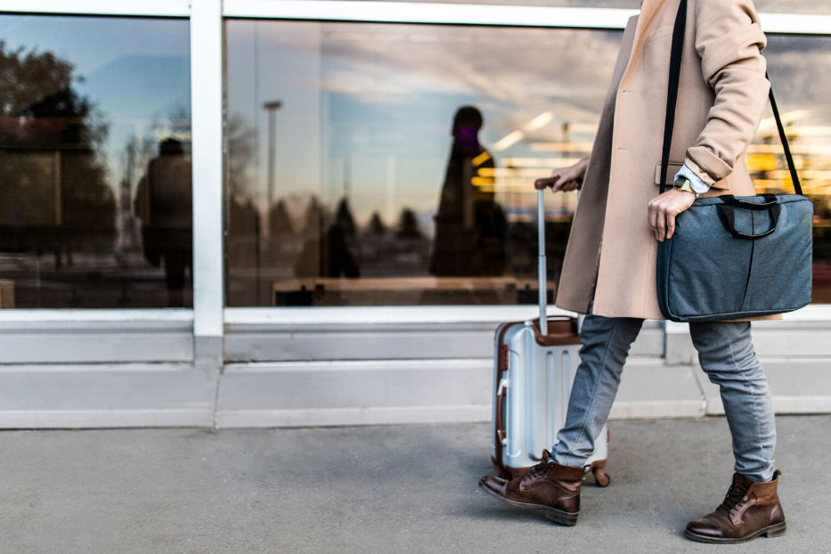 student travelling at airport